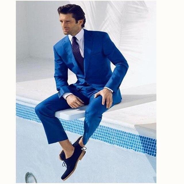 Gwenhwyfar Fashion Style One Button Royal Blue Groom Tuxedos Groomsmen  Men s Wedding Prom Suits Bridegroom Blazer (Jacket+Pants) c333790cd13c
