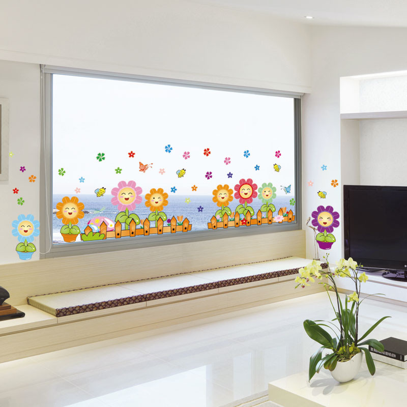 Garden Sunflower Wall Decor : Garden sunflower fence pvc wall stickers living room