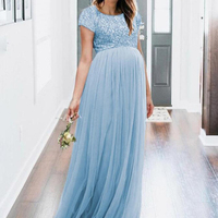 Sequins Ball Gown Chiffon Maternity Dresses For Photo Shoot Long Maternity Photography Props Dresses For Pregnant Women 2019 New