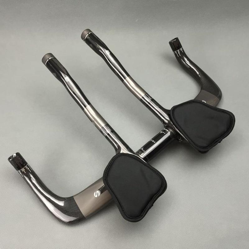 TOSEEK 3 K finish gloss karbon istirahat bar + TT gaya stang set - Bersepeda