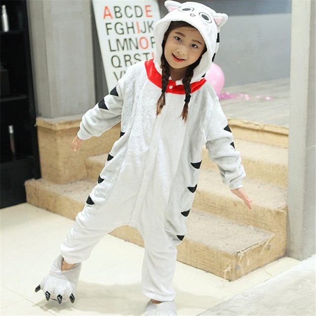 7edce1330 2019 Xmas Gift Children Unisex Unicorn Onesie Animal Pajamas Kigurumi Boys  Girls Halloween Costumes Kids Winter Warm Flannel cat