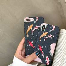 Para iphone 8 plus caso de telefone estilo japonês fantasia carpa koi peixe casos para iphone x xr xs max 8 7 6 s plus 7 capa dura completa pc(China)
