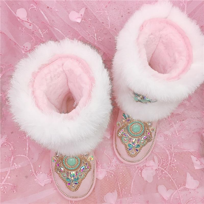 De Bottes Botas Piel Gem Mujeres Mujer Les Negro Nieve Zapatos Femme Caliente Piedra Damas Rosado Media Pierna Totem Invierno Preciosa txTqFzwF