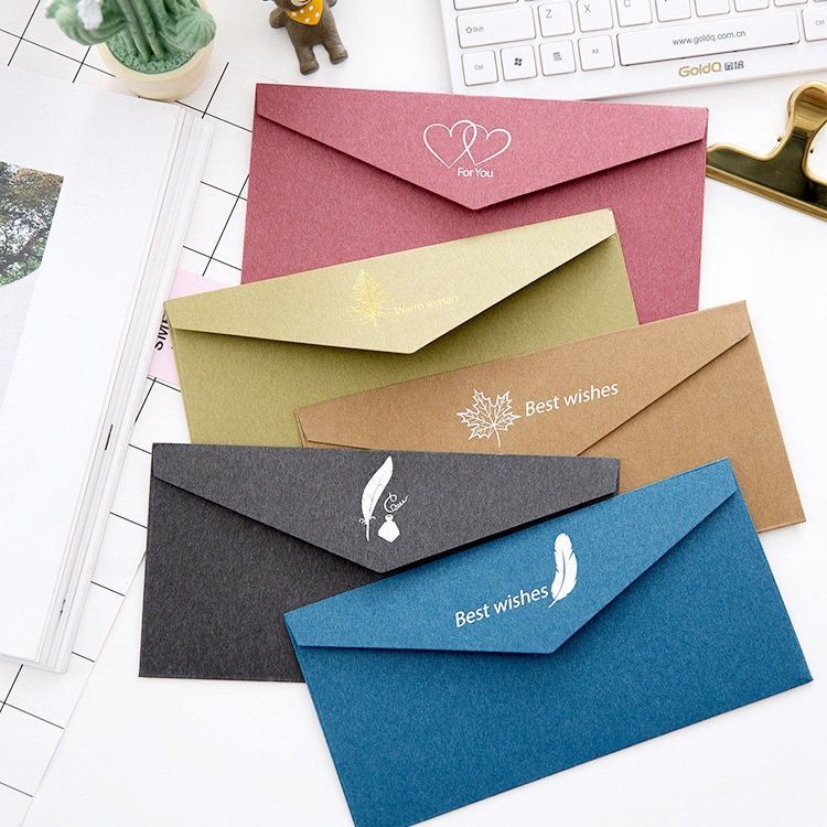 10 Pcs/lot Vintage Gold Kraft Paper Envelopes European Style Gift Envelope For Business Card Wedding Invitation Envelope