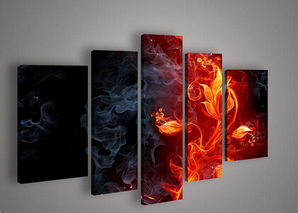 Nice Wall Designs awesome living room interior design with wall decorating ideas inexpensive design ideas for living room 5 Panels Oil Painting Fine Canvas Wall Art The Hot Fire Flower Nice Design High Quality