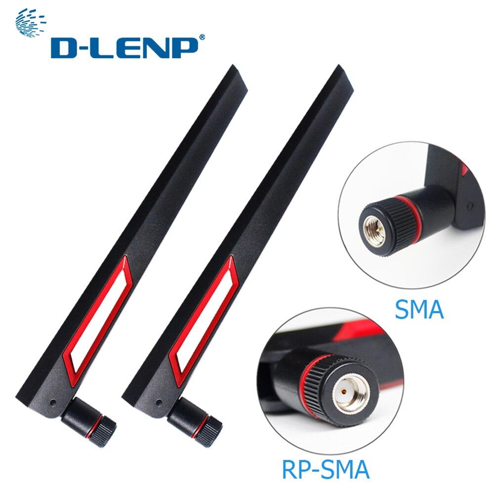 Dlenp 2 piezas 2,4g 5g 5,8g antena wifi de banda Dual 12dBi antena Router de antena SMA macho (pin) /RP-SMA hombre (agujero)