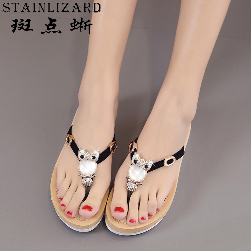 Flip flop 2017 female summer new toe flat sandals women beads diamond sandals women shoes flat with cold slippers BT528 the new solid color colorful beads thick with sandals jewel adornment for women s shoes