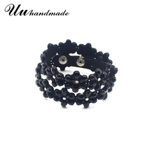 цена на 2017 leather rhinestone Cuff Bracelets & Bangles flower Bracelet Pulseiras Carters Pulseira Feminina Bangle For Women Bileklik