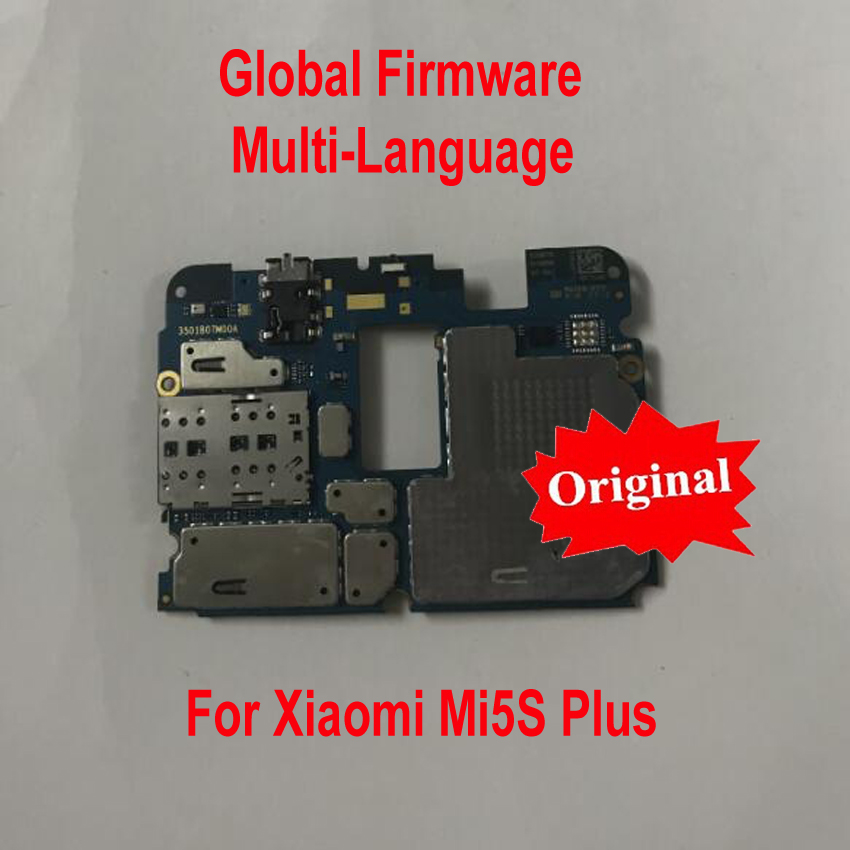 Global Firmware Original Unlock Working Mainboard For <font><b>Xiaomi</b></font> <font><b>Mi5S</b></font> Mi 5S Plus Mi5SPlus Motherboard card fee chipsets flex cable image