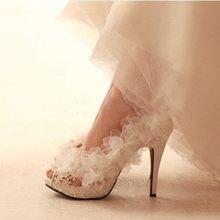 White lace flower bride high-heeled platform shoes  banquet plus size wedding shoes size 33_43 summer lady hollow sandals