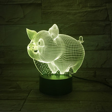 Creative Gadget Night Light Colors LED Table Lamp 3D Visual Pig Desk fixtures Indoor Acrylic Decorative Bulbing christmas Gifts