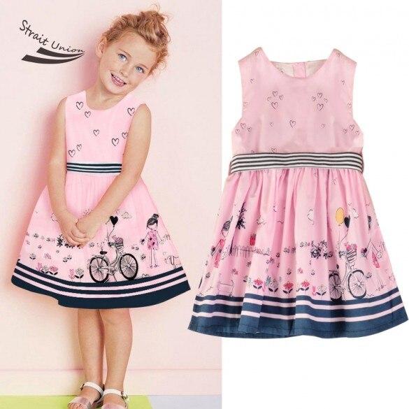 2016 New High Quality Pink Sweet Cartoon Baby Girl font b Dress b font Printing Clothes