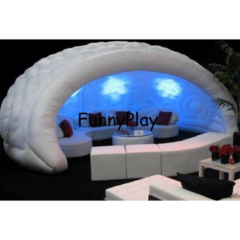 Надувные Luna палатка для выставок, выставки, белый портативный открытый купол надувные бар палатка, оксфорд половина надувной купол палатки