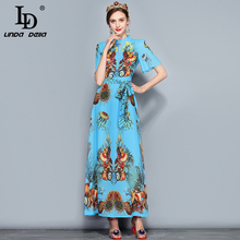 LD LINDA DELLA  Fashion Designer Summer Maxi Dress Womens Elegant Belt Sequin Crystal Beading Coral Printed Long