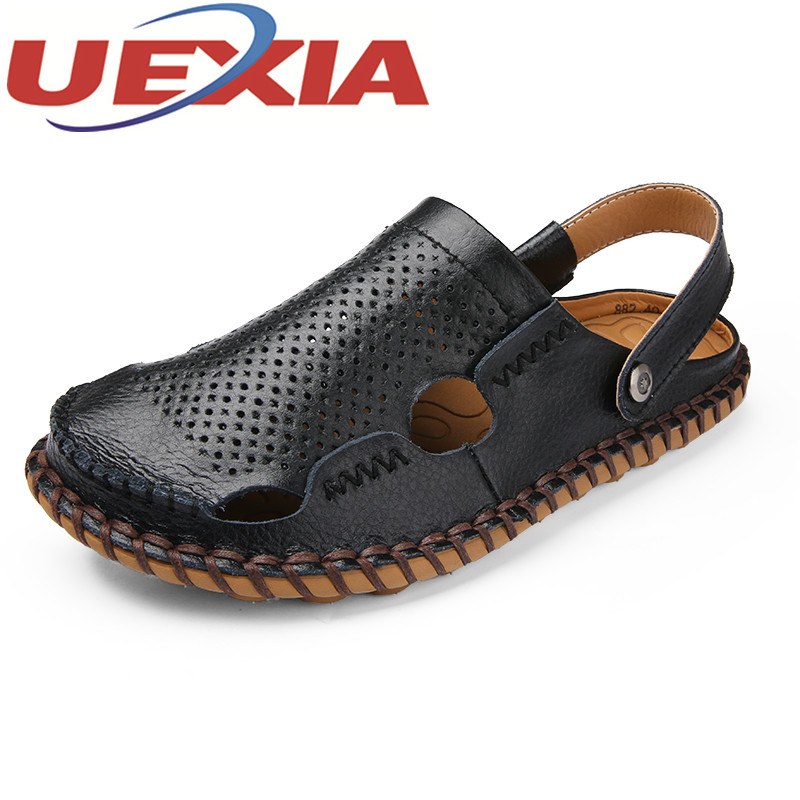 Plus Size 45 Mens Beach Sandals Breathable Pu Leather Slippers Shoes Men Casual Sandalias Hombre Outdoor Slip On Shoes Zapatos