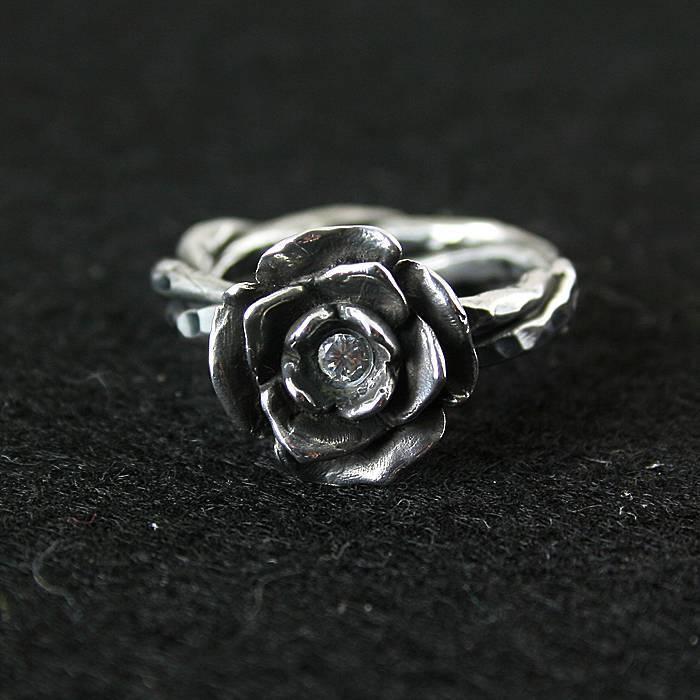 925 bague en argent pur cristal vintage bague thai argent rose manjaris femmes fleur anneau