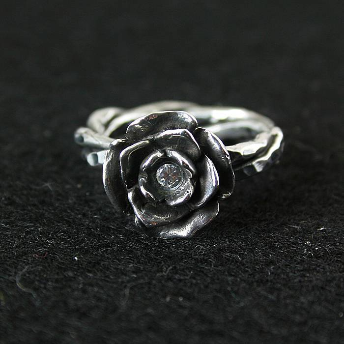 925 pure silver ring crystal vintage ring thai silver rose manjaris Women flower ring 925 pure silver ring crystal vintage ring thai silver rose manjaris women flower ring