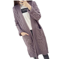 2017 New Autumn And Winter Plus Size Loose Sweater Women Twisted Long Sleeve Knitted Cardigan Female