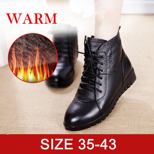 Image 2 - SWYIVY Women Winter Boots 2019 Black Casual Shoes Woman Genuine Leather Ankle Boots For Women Snow boots Warm Fur Plus Size 43