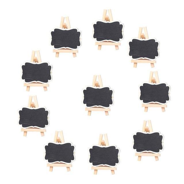 10 Pz Lavagna Con Cornice Segnaposti Con Cavalletto Di Legno Lavagna