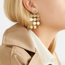 Gold Turkish Coin Long Drop Tassel Earring for Women Boho Disc Geometrical Satement Metal Dangle Earrings Ethnic Jewelry(China)
