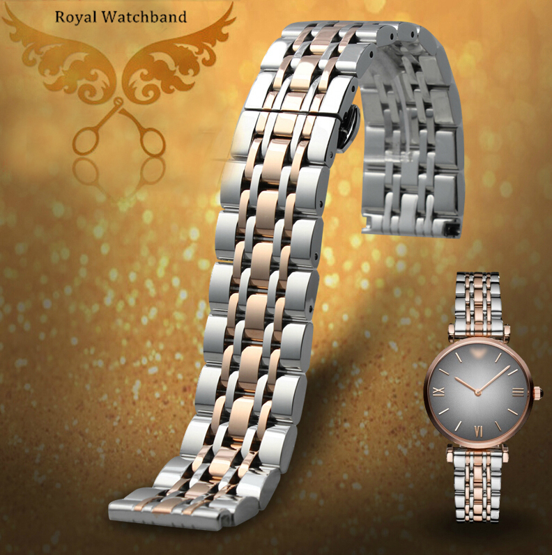 ФОТО Watch bands 22mm Silver with Rose gold Solid Stainless Steel Mens Metal Watch Band Bracelet Strap For AR1648 AR1677 AR0389