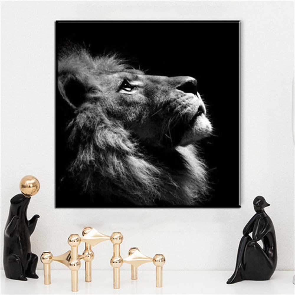 Aliexpress Zz1478 Black White Canvas Art Modern Wall Decor Lion Animal Pictures Oil Painting For Livingroom Bedroom From