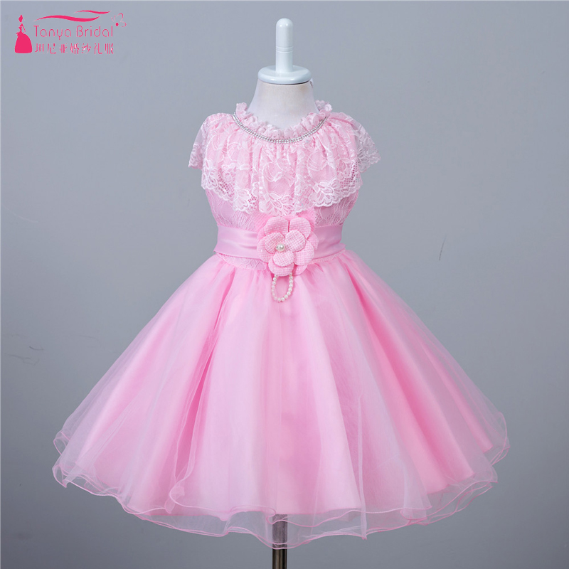 Pink Lace   Flower     Girls     Dress   Handmade   Flower   Bow   Girls   Pagent Gowns With Ribbon Sashes Cheap ZF052