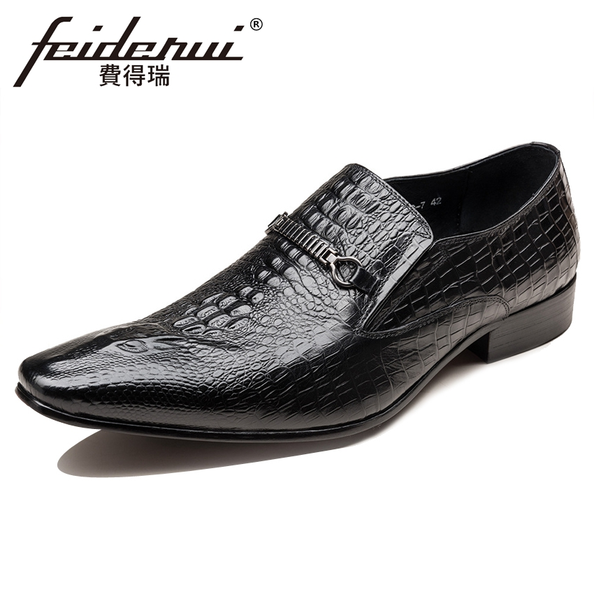 New ALuxury Genuine Leather Alligator Men's Formal Dress Loafers Pointed Toe Slip on Handmade Man Party Casual Shoes YMX493 brand new men genuine leather flats man casual shoes loafers cow suede leather weddng party black handmade formal shoe d966 3