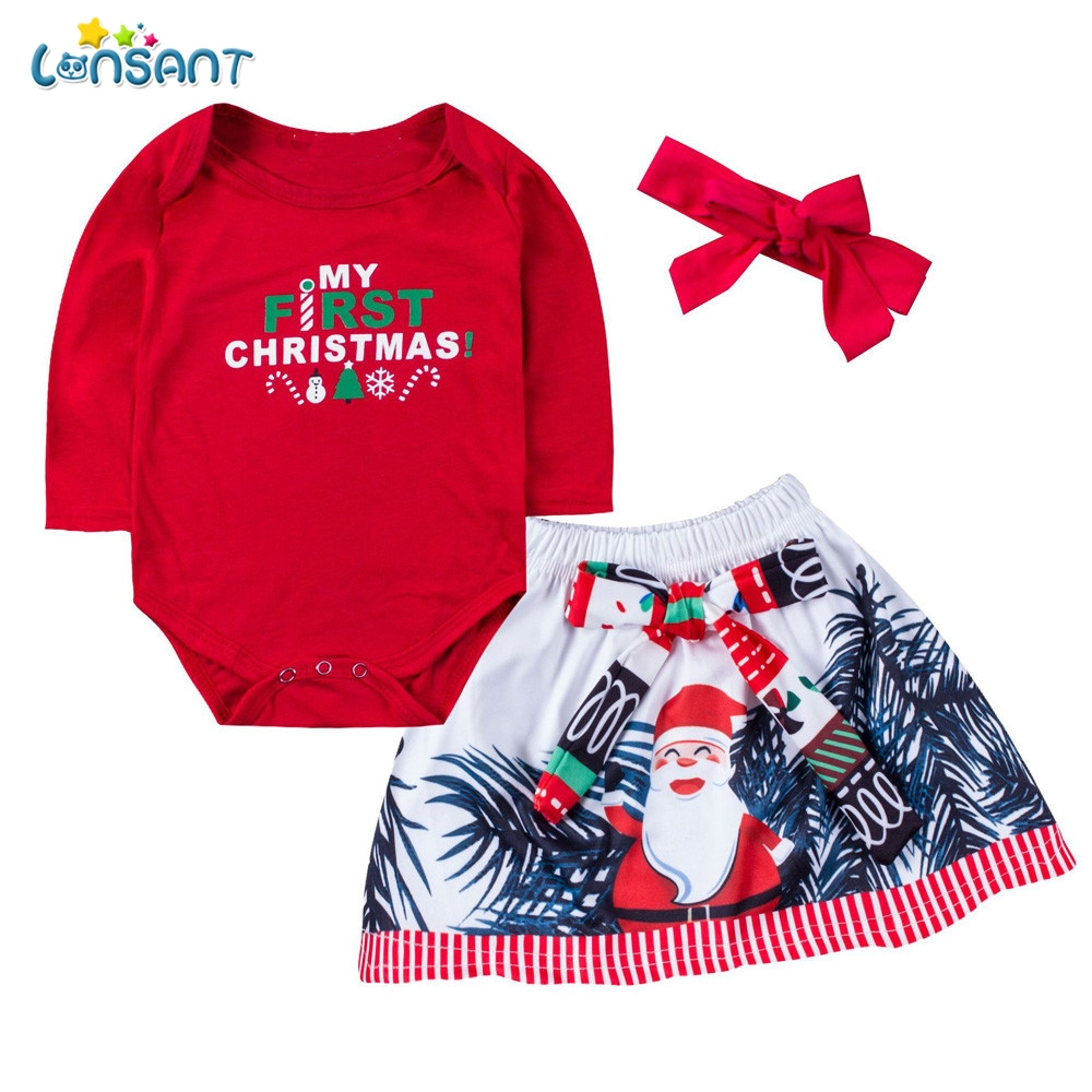 LONSANT Baby Girls Christmas Clothing Sets Newborn Baby Girl Letter Print Romper+Bow skirt+Headbands Xmas Outfits Infant Clothes
