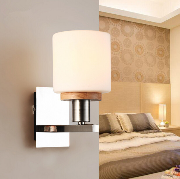 Modern Simple Wood Bedroom Bedside Wall Lamp Creative European Balcony Living Room Stairs Aisle Glass Wall Light Free Shipping modern wooden led wall lamp bed room bedside natural solid wood white glass bedroom bedside aisle corridor entrance wall sconce