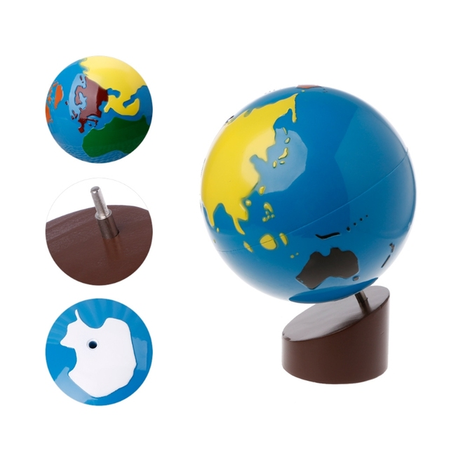 Montessori Geography Material Globe Of World Parts Kids Early ...