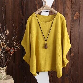 Artı Boyutu 2019 ZANZEA Kadınlar Batwing Kol Gevşek Yaz Bluz Katı Rahat Baggy OL Çalışma Üst Pamuk Keten Gömlek Sarı blusas