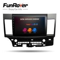 Funrover 8 ядерный Android 8,0 2 din Автомобильный мультимедийный автомобиль DVD gps для MITSUBISHI LANCER 2007 2016 головное устройство радио магнитофон стерео