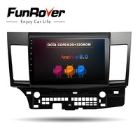 Funrover 8core Android 8.0 2 din car multimedia Car DVD GPS for MITSUBISHI LANCER 2007 2016 headunit Radio tape recorder Stereo