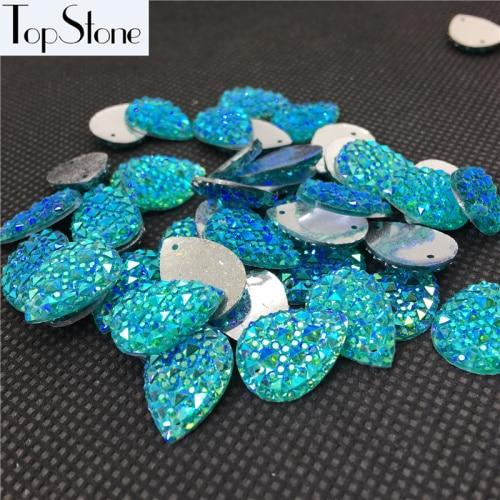 Каплевидные Пришивные бусины 100 шт 10x14 мм 13x18 мм цвета кристалл AB смолы Flatback пришивные стразы 2 отверстия для повседневного платья - Цвет: aquamarine ab