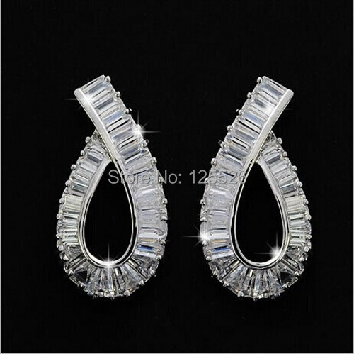 celebrity Style Brand Princess Cut simulated diamond 10KT Gold Filled Earrings Gift
