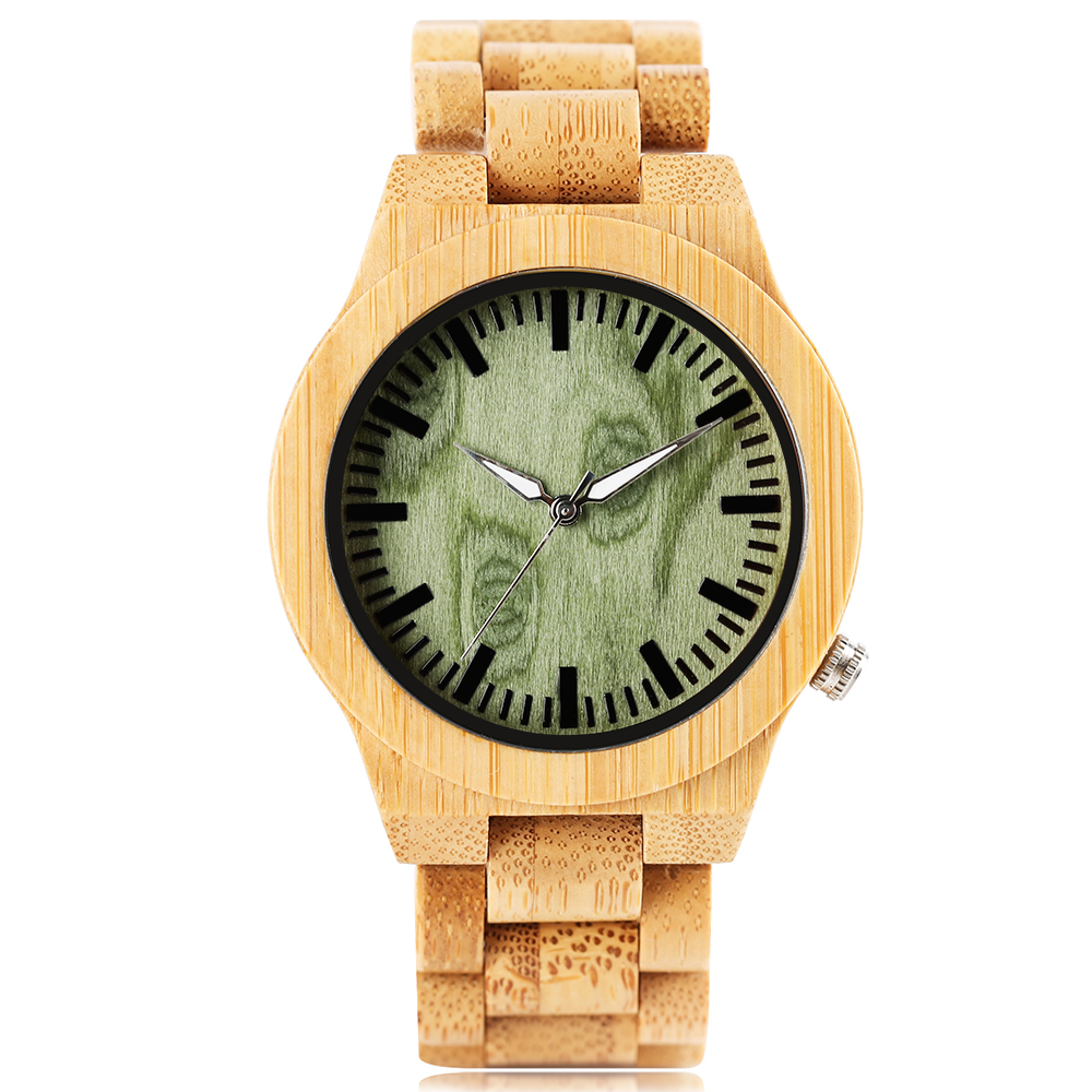 Creative Men's Watches Full Bamboo Quartz Wrist Watch Fashion Green Analog Dial Wood Watch Light Wood Watch Handmade Sport Clock кольцо green wood green wood mp002xw0dwkx