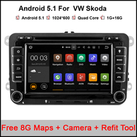 3G 4G Quad Core 2 Din Android 5 1 Car DVD Player For VW Volkswagen GOLF