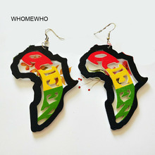 Colourful Painting Wood Hollow Out Africa Map Tribal Tropical Fashion Black Women Earring Vintage Wooden African Hiphop Jewelry