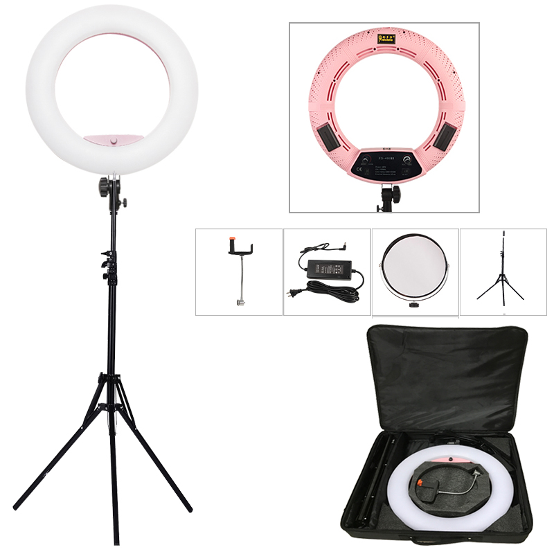 Yidoblo Pink FS-480II 5500K Dimmable Camera Фото / Студия / Телефон / Бейне 18 «48W 480 LED сақиналы жарық диодты шамы + 200cm штатив + Bag Kit