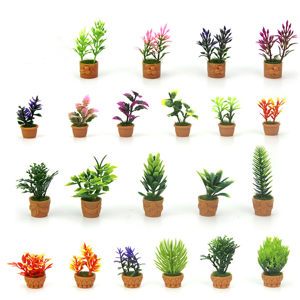 1/12 Dollhouse Miniature Accessories Mini Plastic Potted Plant Simulation Flower Model Toy For Doll House Decoration