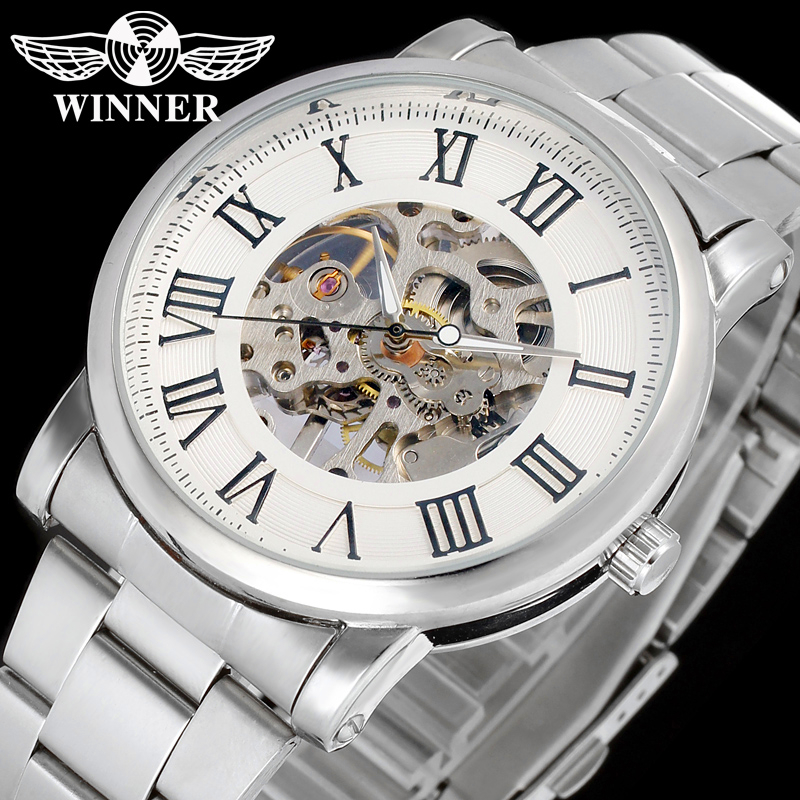 Fashion WINNER Men Brand Roman Number Skeleton Stainless Steel Watch Mechanical Hand Wind Wristwatches Gift Box Relogio Releges fashion men mechanical hand wind watches men skeleton stainless steel wristwatches for male luxury golden watch men