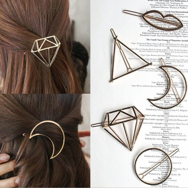 Fashion Metal Leaf Hair Clip Barrettes Hairpin Barrette Hair Claws Women Girls Trend Charm Moon Round Triangle(China)