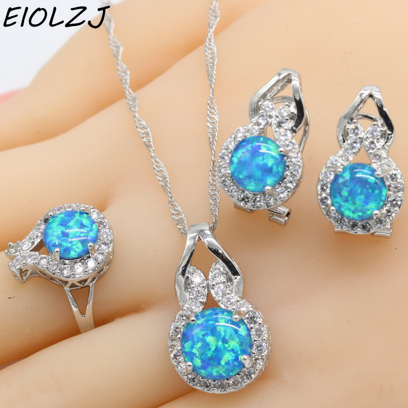 925 Sterling Silver Jewelry Sets For Women Geometric Blue Opal Necklace Pendant Clip Earrings Choker Ring Gift Box Free Ship custom 3d photo wallpaper mural bed room hd wallpaper cute pet dog 3d painting sofa tv background wall home decor murals