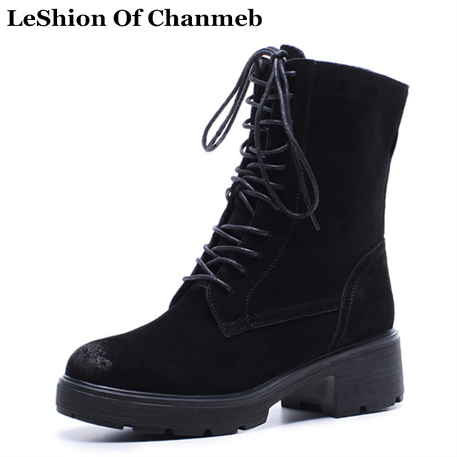 4faf0b847ff US $49.31 44% OFF|Nubuck Leather Dr Martin Boots Female Lace up Ankle Boots  Ladies Warm Plush Inside Black Winter Boots Women Booties Chunky Heels-in  ...