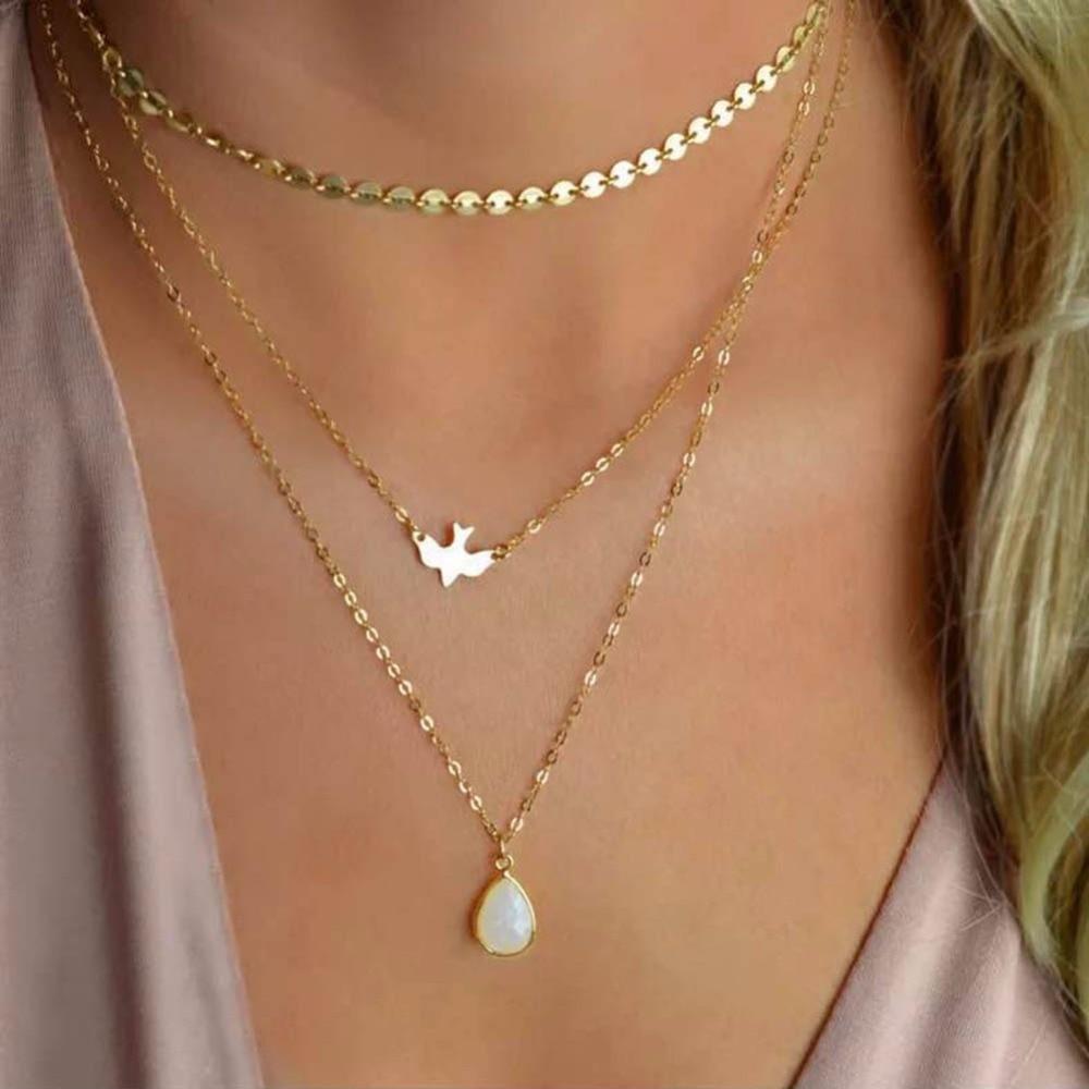 Luxus Halsband Halskette Nachahmung Perlen Halskette Kreuz Anhänger Halsketten Für Frauen Gold Farbe Multilayer Kette Mode Schmuck 3 Schmuck & Zubehör