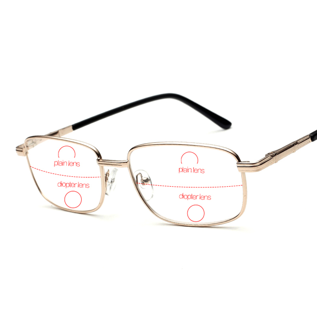 5cea8a16f0 Rimless Bifocal Reading Glasses Men Slim Eyewear For Reader Men s Diopter  Eyeglasses Male Read Points Grade 1.0 1.5 2.0 2.5 Free