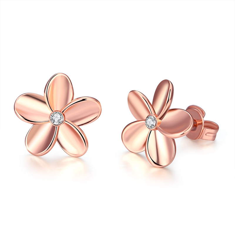 Vintage Rose Gold 585 Plated Flower Brincos Cubic Zirconia Jewelry Stud Earrings For Women Boucle Doreille Aros Aretes QA0218