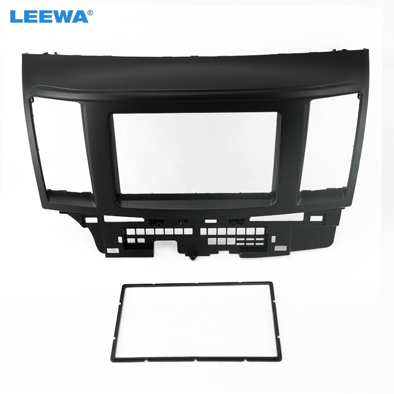 LEEWA Black Car 2DIN Refitting DVD Frame DVD Panel Dash Kit Fascia Radio Audio frame for Mitsubishi Fortis and Lancer #CA2736 free shipping car refitting dvd frame dvd panel dash kit fascia radio frame audio frame for 2012 kia k3 2din chinese ca1016